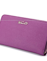 Women Card & ID Holder Cowhide All Seasons Casual Outdoor Square Zipper Fuchsia Purple Black