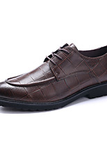 Men's Wedding Shoes Formal Shoes Cowhide Leather Spring Fall Wedding Office & Career Party & Evening Formal Shoes Coffee Black Flat