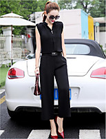 Women's Going out Casual/Daily Work Sophisticated Summer Shirt Pant Suits,Solid Stand Sleeveless Micro-elastic