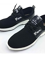 Men's Sneakers Comfort Spring Fall Fabric Casual Outdoor Lace-up Split Joint Flat Heel Black 1in-1 3/4in