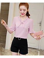 Women's Daily Casual Casual Summer T-shirt Pant Suits,Solid Color Block V Neck 1/2 Length Sleeve Micro-elastic