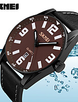 SKMEI Genuine Leather Quartz Wristwatches Casual Large Dial Men Watch Fashion Sports Waterproof Watches
