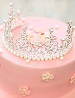 Imitation Pearl Wedding Cake Topper Crown Decorations-1 Piece Party Special Occasion Birthday Party/Evening Event/Party