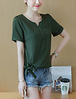 Women's Plus Size Casual/Daily Simple Cute Summer Blouse,Solid V Neck Short Sleeve Cotton Nylon Thin