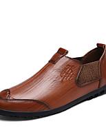 Men's Loafers & Slip-Ons Moccasin Comfort Cowhide Spring Fall Casual Office & Career Flat Heel Dark Brown Light Brown Black Flat