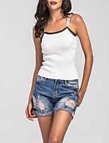 Women's Party Beach Going out Sexy All Seasons Tank Top,Solid Strap Sleeveless Mercerized Cotton Medium