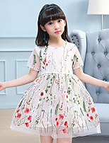 Girl's Fashion Print Flower Dress,Cotton Polester/Cotton Blend Summer Short Sleeve