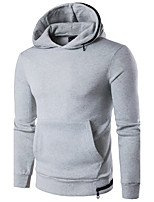 Men's Sports Going out Casual/Daily Simple Hoodie Solid Hooded Micro-elastic Cotton Polyester Long Sleeve Spring Fall