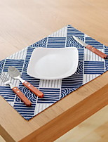 Japanese Wavy Pattern Dark Blue Geometric Pattern Cotton And Linen Table Placemat 32*45cm