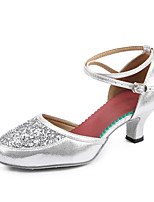 Women's Latin Sparkling Glitter Paillette Taffeta Glitter Heels Sneakers Indoor Buckle Sparkling Glitter Paillettes Splicing Color Block
