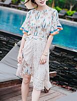 Camicia Vestiti Completi abbigliamento Da donna Quotidiano Casual Per uscire Casual Attivo Dolce Estate Autunno,Fantasia floreale Rotonda