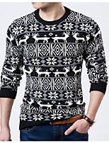 Herren Standard Pullover-Normal Chinoiserie Tierfell-Druck Rundhalsausschnitt Langarm Baumwollmischung Winter Mittel Mikro-elastisch