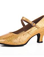 Damen Latin Glitzer Paillette Sandalen Aufführung Pailletten Glitter Stöckelabsatz Gold Silber 5 - 6,8 cm