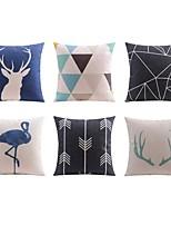 6 pcs Linen Pillow case Bed Pillow Body Pillow Travel Pillow Sofa Cushion Pillow Cover,Art Deco Animals Geometric PatternArtistic Art