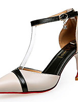 Women's Heels Comfort Light Soles Summer PU Dress Buckle Kitten Heel Black Beige 2in-2 3/4in