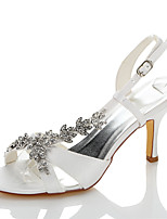 Women's Sandals Slingback Summer Fall Satin Wedding Dress Party & Evening Chain White 3in-3 3/4in