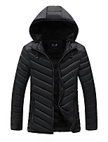 Men's Regular Padded Coat,Simple Daily Casual Solid-Chinlon Cotton Long Sleeve