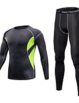 Male Running Tights Baselayer Running T-Shirt Fitness, Running & Yoga Windproof Breathable Clothing Suits forRunning/Jogging Yoga