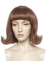 Short Curly Wig Brown Synthetic Fiber Wig With Neat Bangs Women Wig