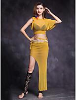 Dança do Ventre Roupa Mulheres Apresentação Fibra Sintética Elastano De Amarrar 2 Peças Manga Curta Natural Saias Blusas