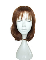 Charming Short Curls Wig Brown Synthetic Wig with Air Bang