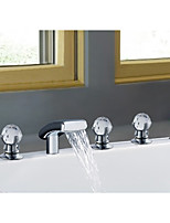 Mediterranean Beach Style Widespread Waterfall with  Ceramic Valve Two Handles Five Holes for  Chrome , Bathtub Faucet