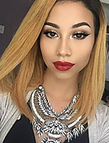 Ombre T1B/27 Lace Front Human Hair Bob Wigs Straight with Baby Hair 130% Density Brazilian Virgin Remy Hair Short Wig for Woman