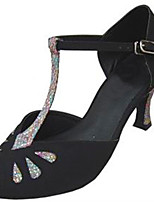 Для женщин Латина Шёлк Сандалии Концертная обувь С пряжкой На шпильке Черный 7,5 - 9,5 см Персонализируемая