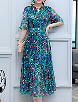 Women's Party Plus Size Going out Boho Loose Chiffon Swing Dress Print Round Neck Midi Half Sleeve Polyester Summer Fall Mid Rise