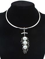 Жен. Ожерелья с подвесками Ожерелья-цепочки Искусственный жемчуг Стразы В форме листа Искусственный жемчуг Стразы СплавБазовый дизайн