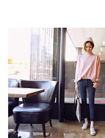 Women's Going out Casual/Daily Simple Short Pullover,Solid Round Neck Long Sleeve Cotton Fall Medium Micro-elastic