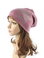 Women's Cotton Beanie Floppy Hat Headwear Cute Casual Chic & Modern Daily Knitwear Fall Winter Star Pattern Rhinestone Red/Beige/Navy Blue/Wine