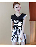 Women's Daily Casual/Daily Summer T-shirt Dress Suits,Solid Plaid/Check Quotes & Sayings Round Neck Sleeveless