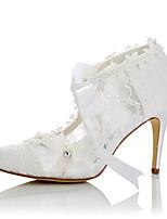Femme Chaussures à Talons Confort Dentelle Satin Eté Automne Mariage Habillé Soirée & Evénement Confort Applique Talon Aiguille Blanc7,5