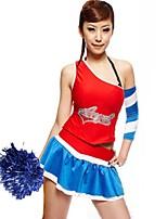 Kostýmy pro roztleskávačky Úbory Dámské Taneční vystoupení Polyester Barevně dělené 2 kusy Bez rukávů Přírodní Sukně Vrchní část oděvu