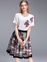 DFFD Women's Holiday Going out Simple Cute Summer T-shirt Skirt SuitsButterfly Round Neck Short Sleeve Mesh Patchwork Inelastic