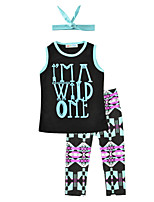Girls' Print Sets Cotton Summer Sleeveless Clothing Set I Am A Wild One Vest T Shirt Pants with Headbands for Kids Girls