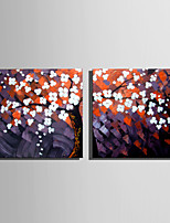 Mini Size E-HOME Oil painting Modern A Tree Full Of White Flowers Pure Hand Draw Frameless Decorative Painting Set of 2