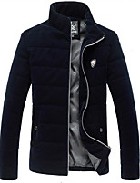Men's Regular Padded Coat,Simple Casual/Daily Solid-Cotton Others Cotton Long Sleeve