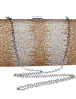 Women Evening Bag Polyester All Seasons Wedding Event/Party Formal Minaudiere Rhinestone Clasp Lock Gold