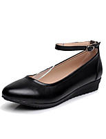 Women's Heels Formal Shoes Spring Fall Real Leather Office & Career Buckle Wedge Heel Black 1in-1 3/4in