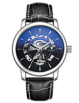 Men's Skeleton Watch Mechanical Watch Japanese Automatic self-winding Noctilucent Leather Band Black Silver Brown