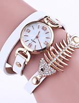 Mulheres Bracele Relógio Chinês Quartzo PU Banda Elegantes Preta Branco Vermelho Cinza Rosa Cáqui Azul Marinho Rose