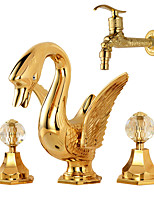 Contemporary Luxury Series Brass Swan Shape Two Handles Three Holes Ti-PVD Bathroom Sink Faucet / Washing Machine Faucet