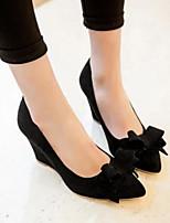 Damen Schuhe Nubukleder PU Frühling Herbst Komfort High Heels Für Normal Schwarz Rot Blau Rosa