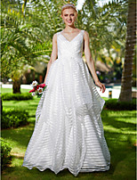 2017 LAN TING BRIDE A-line Wedding Dress - Open Back Floor Length V-neck Organza with Bow(s) Sashes/ Ribbons