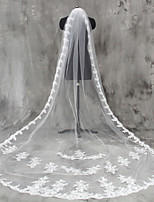 White / Ivory Bride Wedding Veil One-tier Fingertip Veils Lace Applique Edge Lace Tulle With Comb