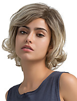 Fluffy Oblique Fringe Short Hair Ombre Color Human Hair Wigs