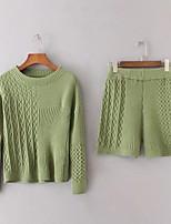 Для женщин На выход На каждый день Весна Осень Рубашка Брюки Костюмы Круглый вырез,Простой Активный Однотонный Длинный рукав