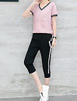 Women's Casual/Daily Casual Spring Summer T-shirt Pant Suits,Solid Striped Color Block V Neck Short Sleeve Micro-elastic